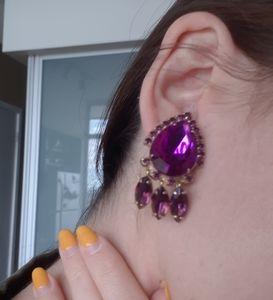 Vintage purple costume clip ons
